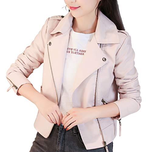 Qingxian レザージャケット レディース アウター 女性スリム レザージャケット ジッパーコートために春と秋の冬 暖かい 防風 人気 ライダースジャケット バイカーフェイクレザー ブルゾン 革ジャン レザー