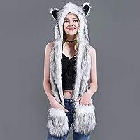 TOPmountain Women Scarves Hat Gloves 3 in 1-Faux Fur hat Animal hat Scarf Gloves one