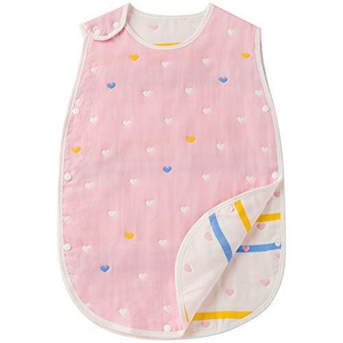 0f75d8a8c481a Hapipana 綿100% 6重ガーゼ スリーパー ベビー キッズ 赤ちゃん コットン 柔らかい 寝冷え防止 (女の赤ちゃん