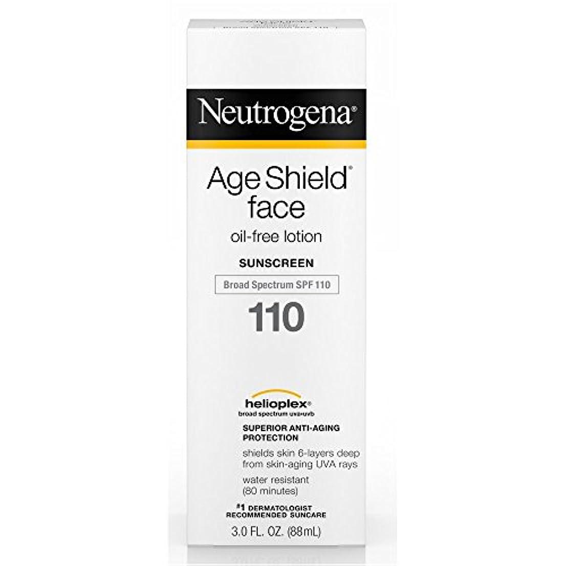 霊極めて重要な残り物Neutrogena 年齢シールドフェイスオイルフリーローション日焼け止め広域スペクトルSPF 110、3フロリダ。オンス