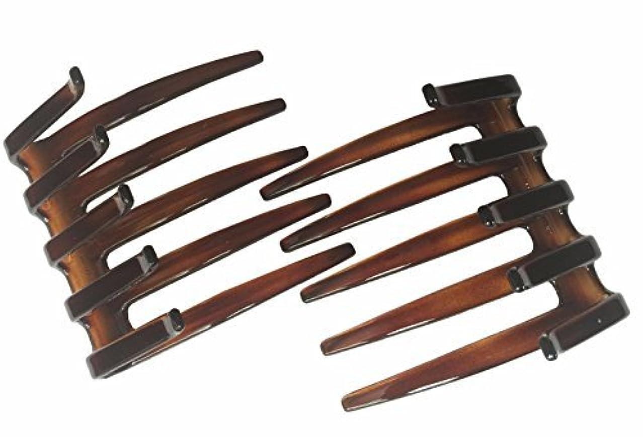 作りシャー地元Parcelona French Crab Interlocking Large Celluloid Shell Hair Clip Side Comb Approx. 3.5 Inches [並行輸入品]