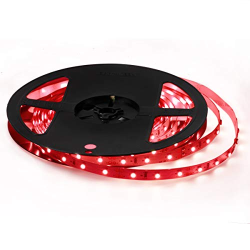 Signcomplex 12V 超高輝度 LEDテープライト 5M/300連 LED ストリップライト 正面発光 強力粘着両面テープ LEDチップSMD3528 LEDライト 広く 展示会、車内装飾用、 舞台、テレビ 赤い非防水