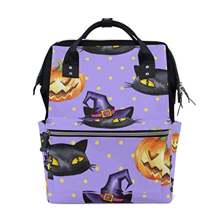 ママバッグ マザーズバッグ リュックサック ハンドバッグ 旅行用 ハロウィン 黒猫柄 ファション