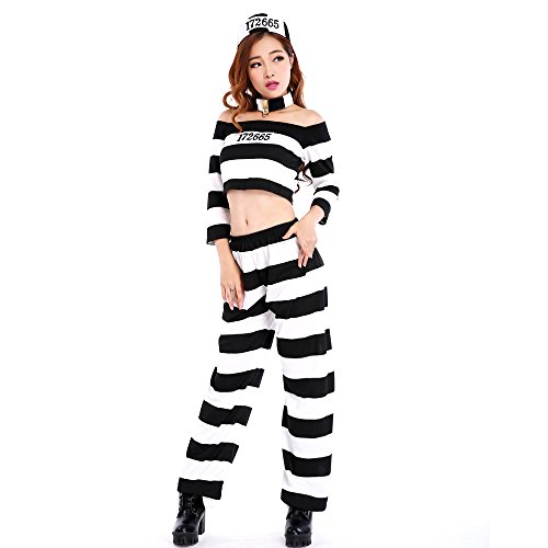Malymoon パンツタイプボーイッシュ囚人 コスチューム ホワイト レディース フリーサイズ