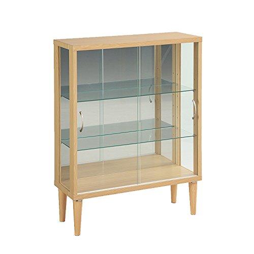 コレクションケース ガラス 背面ミラー 脚付き プリズム コレクションボード 木製 ガラスケース ガンプラケース フィギュアケース ショーケース 幅75 (ナチュラル)