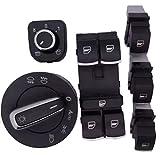 (ベンマロ)BENMALL ヘッドライトスイッチ + ウィンドウスイッチ + サイドミラースイッチ クロム制御 6点セット VW ジェッタ(Jetta) GTI ティグアン パサート(Passat)ラビット P173