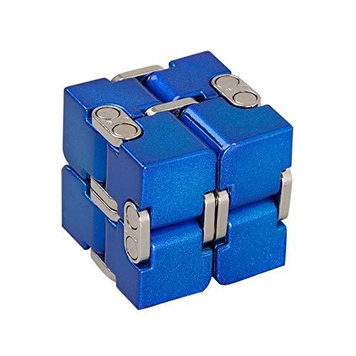 ZHENWOFC プレミアムアルミ合金インフィニティキューブ変形マジカルキューブフィジェット玩具EDCストレスリリーフ玩具 Silver