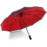 折り畳み傘 ワンタッチ自動開閉 210T撥水二層生地 10本傘骨120cm 耐風撥水 晴雨兼用 軽々しい 快適 男女兼用 収納ポーチ付き (赤色)