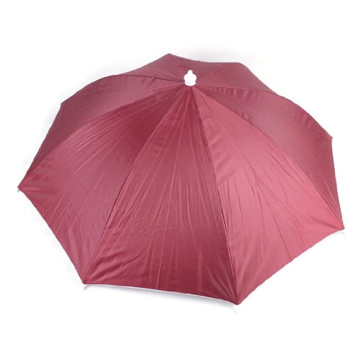 繰り返したアセンブリ確率uxcell 釣り傘 傘帽子 釣り用 ヘッドバンド ブラック 弾性的 赤紫色 ヘッドバンド 折り畳み ハットアンブレラと紐 釣り用