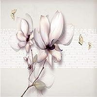 Wuyyii 手描きの風3Dの壁紙マグノリア不織布の壁紙モダンなライトグレーの抽象画のリビングルーム用壁紙-120X100Cm