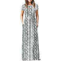 Viishow Women's Short Sleeve Loose Plain Maxi Dresses Casual Long Dresses Pockets