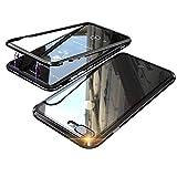 3a2d7cbf36 iPhone 8 ケースマグネット式 多点磁力で接続 アルミ バンパー 背面 透明 強化ガラス バックプレート アイフォン8/7 カバー QI  ワイヤレス 充電対応 軽量 薄型 ...