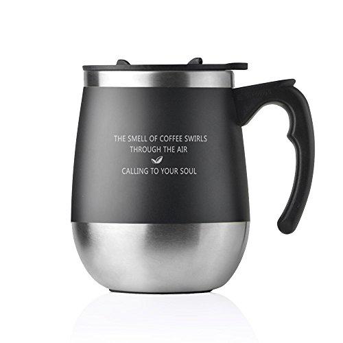 ONEISALL SB60138 マグカップ 保温 蓋つきマグカップ おしゃれコーヒー用ボトル 麦茶 フタ付きマグ0.45L (black)
