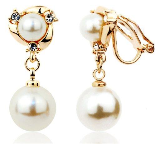[해외]여성스러운 흔들리는 진주가 귀여운 더블 진주 귀걸이 (골드)/Feminine shaking pearls are cute Double pearl earrings (gold)