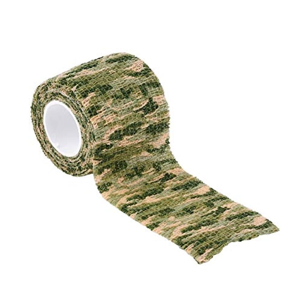 無力令状ウナギSaikogoods 弾性迷彩防水屋外ハントキャンプステルス迷彩ラップテープミリタリーエアガンペイントボールストレッチ包帯 グラスグリーン迷彩