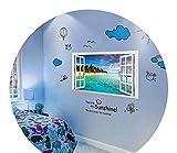 女の子の心の部屋の壁のステッカーの壁の装飾のステッカー,09偽の窓ビーチ+漫画の休日日差し,特大