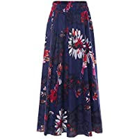 Chartou Womens Boho Elastic Waist Maxi Ankle Length Maxi Long Cotton Linen Floral Skirt