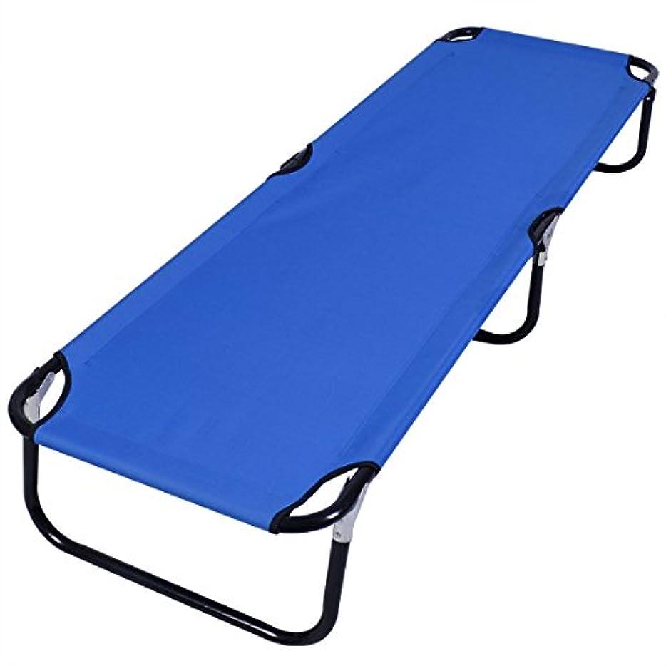 比喩寄付誰ブルー 折りたたみ式 キャンプベッド アウトドア ポータブル ミリタリー コット 睡眠 ハイキング 旅行