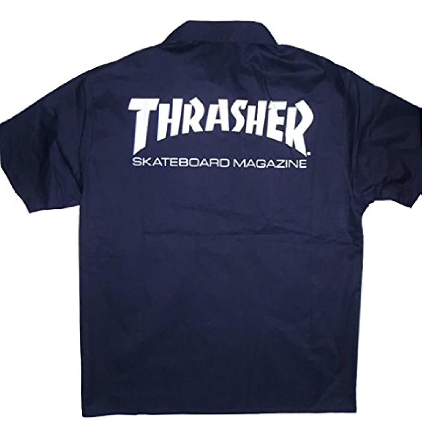 クリスマス縮約裂け目THRASHER スラッシャー MAGAZINE マガジン ロゴ ワークシャツ 黒x白