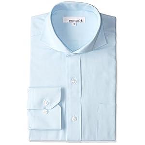 オックスフォード ドレスシャツ 長袖 ワイシャツ Yシャツ シャツ メンズ スリム ライトブルー カッタウェイ ホリゾンタルカラー DC7004C-4184