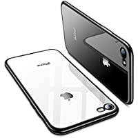 TORRAS iPhone8 ケース / iPhone7 ケース【高品質TPU/背面クリア+メッキ加工/Qi充電対応】薄型 ソフト アイフォン8/7 用 耐衝撃カバー(ブラック)