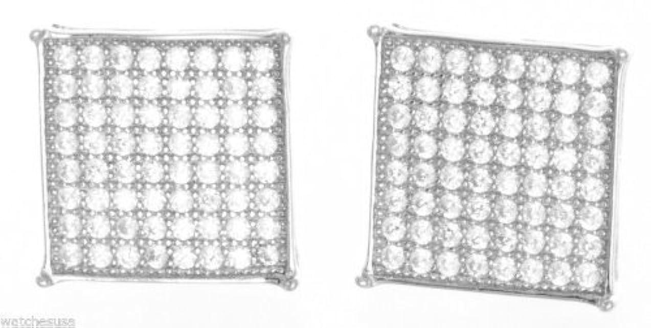 親密なメッシュ正規化スターリングシルバーホワイトCZストーン11 mmスクエアシェイプスタッドメンズイヤリング