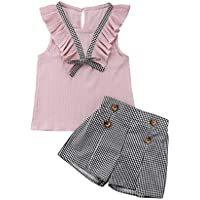 2pcs/Set Toddler Kids Baby Girl Sleeveless Floral T-Shirt Top Sunflower Denim Jeans Shorts Outfits 1-8T (02 Fashion Pink, 3-4 Years Old)