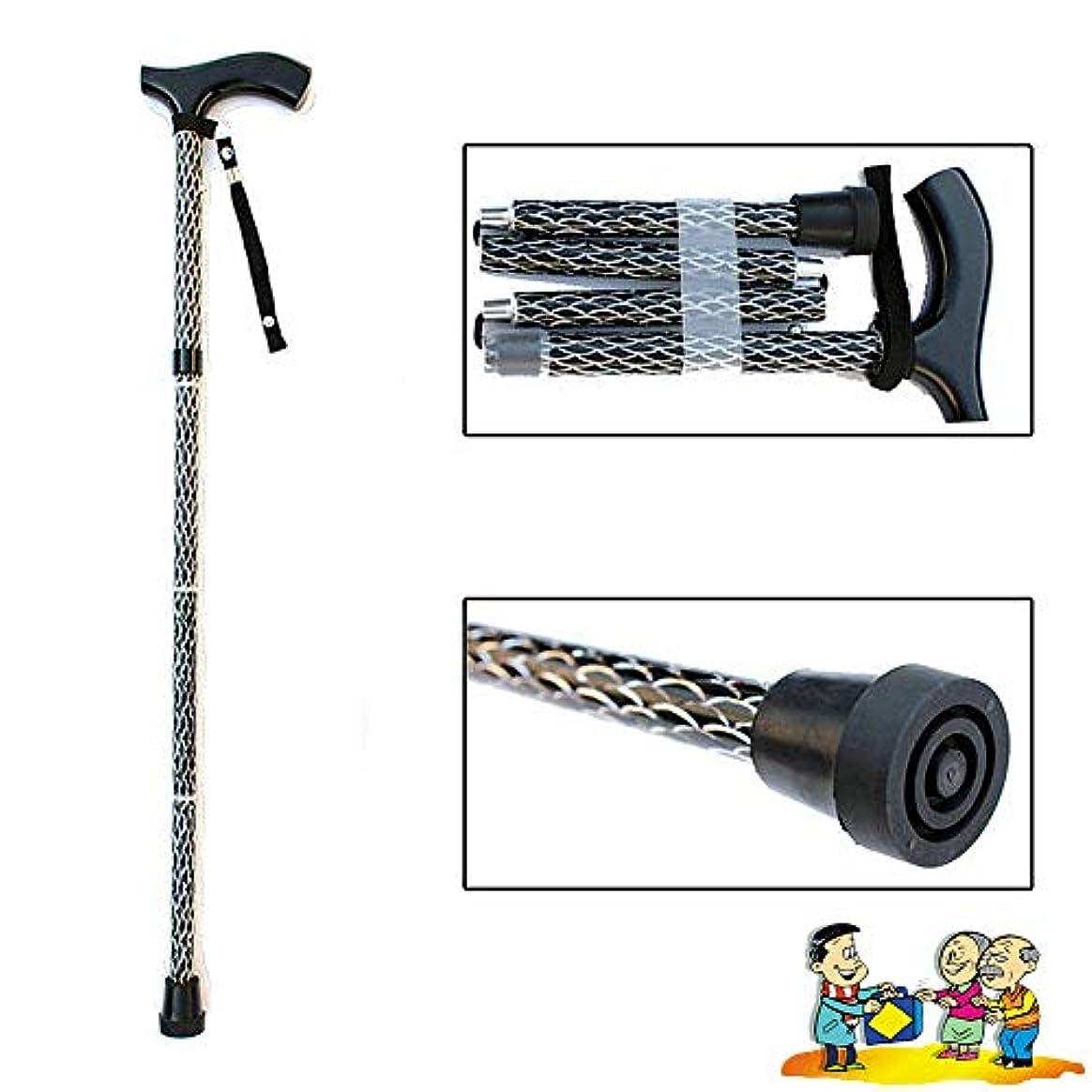 軽減大統領プラスアルミニウム合金の老人杖、折りたたみ杖、樹脂ハンドル老人杖、5ファイルの高さ調節可能(F38)