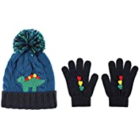 accsa Toddler Kids Boy Knit Winter Beanie Hat & Glove Set Dino Monster Crocodile Age with 3-6 YRS