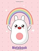 Notebook: Adorable Kawaii Composition Notebook for Kids and Teens, 120 wide college ruled Rainbow Writing Journal for Girls