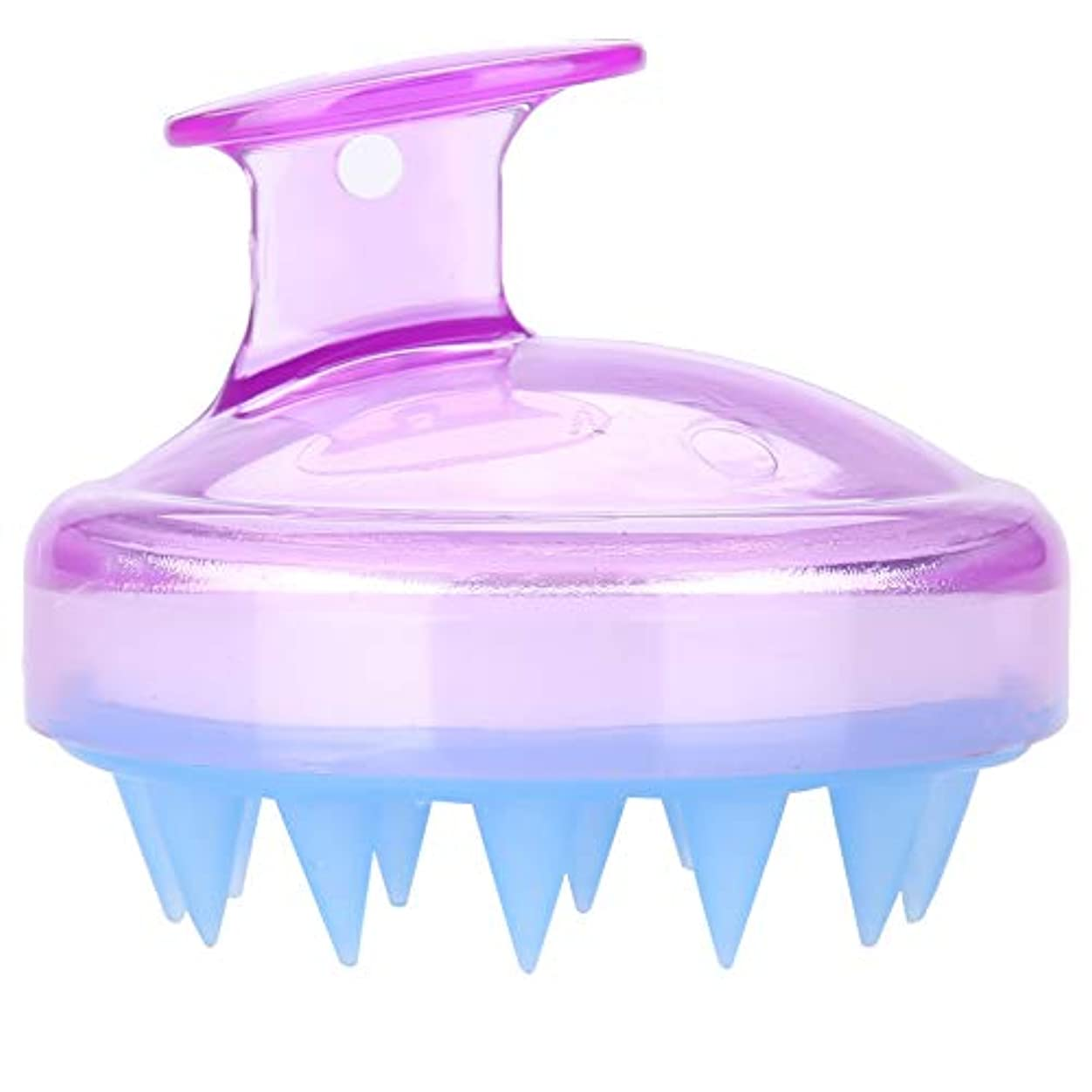 一元化する浴火山5色マッサージャーヘッド - スカルプマッサージャー、マッサージャーブラシヘッドシャンプー - ボディ洗浄マッサージャーのためのシャワーブラシ(紫の)