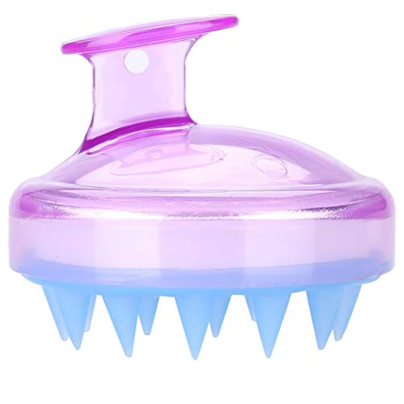 芝生クレタ全滅させる5色マッサージャーヘッド - スカルプマッサージャー、マッサージャーブラシヘッドシャンプー - ボディ洗浄マッサージャーのためのシャワーブラシ(紫の)
