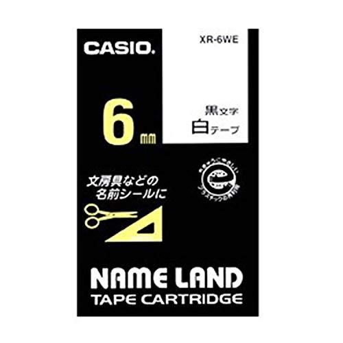 カシオ ラベルライター ネームランド 純正 テープ 6mm XR-6WE 白地に黒文字
