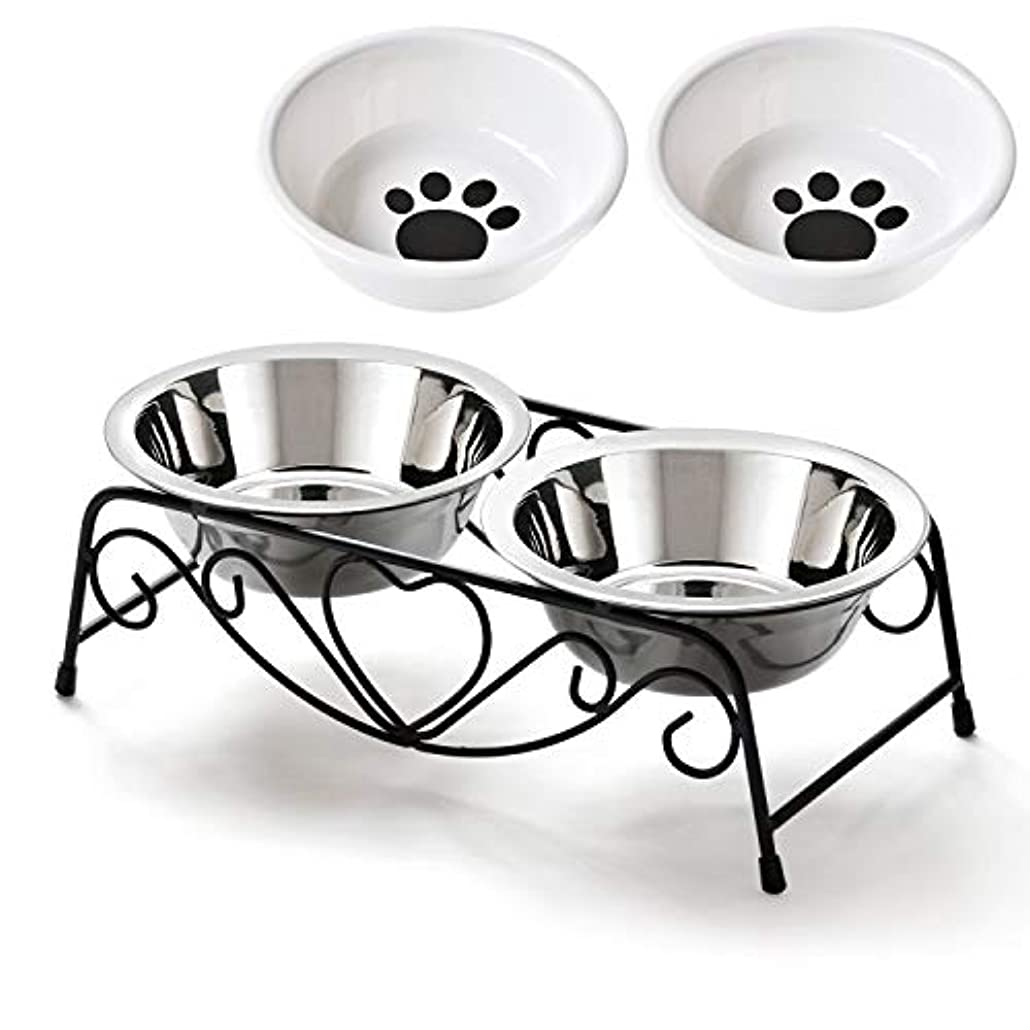 アーティファクトメーターアダルトペットボウルスタンドセット ステンレス製 えさ入れ ごはん皿 お水入れ 猫 犬