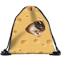 【560kick】 チーズ と ネズミ 柄 巾着 袋 リュック レッスン バッグ イエロー おけいこ