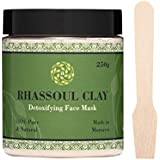 Rhassoul Clay - 100% Moroccan Organic Clay Powder For Face Mask & Hair - Detox & Deep Cleanse Your Skin - Improve Skin Tone - Reduce Acne - Eco-Friendly - Vegan - Comes with Wood Mixing Spoon