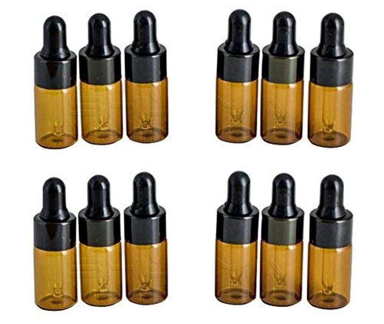 結晶機動有名12PCS 3ml/3ML Empty Refillable Amber Glass Essential Oil Bottles Makeup Cosmetic Sample Container Bottle Pot with...