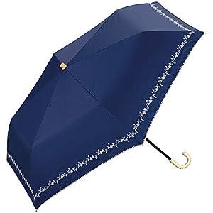 ワールドパーティー(Wpc.) 日傘 折りたたみ傘 ネイビー 50cm レディース 傘袋付き 遮光プチフラワー刺繍 ミニ 801-622 NV
