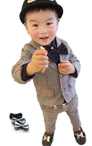 [笑顔一番] ボーイズ チェック柄 フォーマル スーツ 上下2点 + 蝶ネクタイ セット / 入学式 結婚式 発表会 ブライダル 七五三 記念日 連休 里帰り キッズ 男の子 (サイズ: 90~130 ) [A145-12] (100cm, グレー)