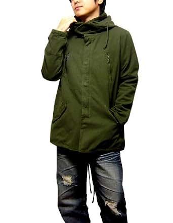 EVERSOUL SELECT[エヴァーソウル セレクト] コート メンズ モッズコート フード ジップアップ ハーフコート サロン系 キャメル M
