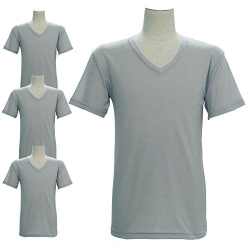 インナーTシャツ 半袖V首下着 吸汗速乾 抗菌 消臭 ハニカムメッシュ 4枚セット LL