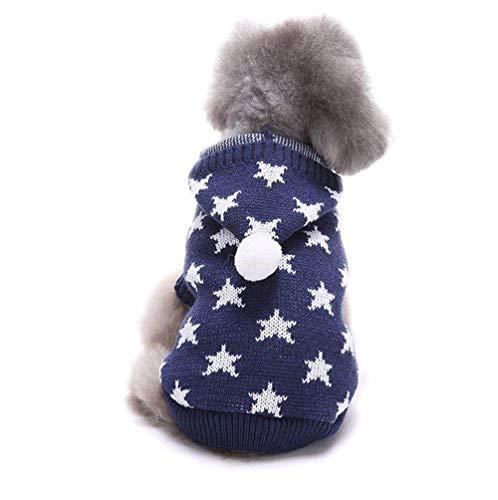 犬服 犬ニットセーター スター柄のニットパーカー Star ...