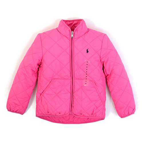 588204c6477d6 ラルフローレンRalph Laurenのガールズ(TODDLER)ダウンジャケットです。 蛍光がかったピンクのシェル、フード付き。  フロントはフルジップ。