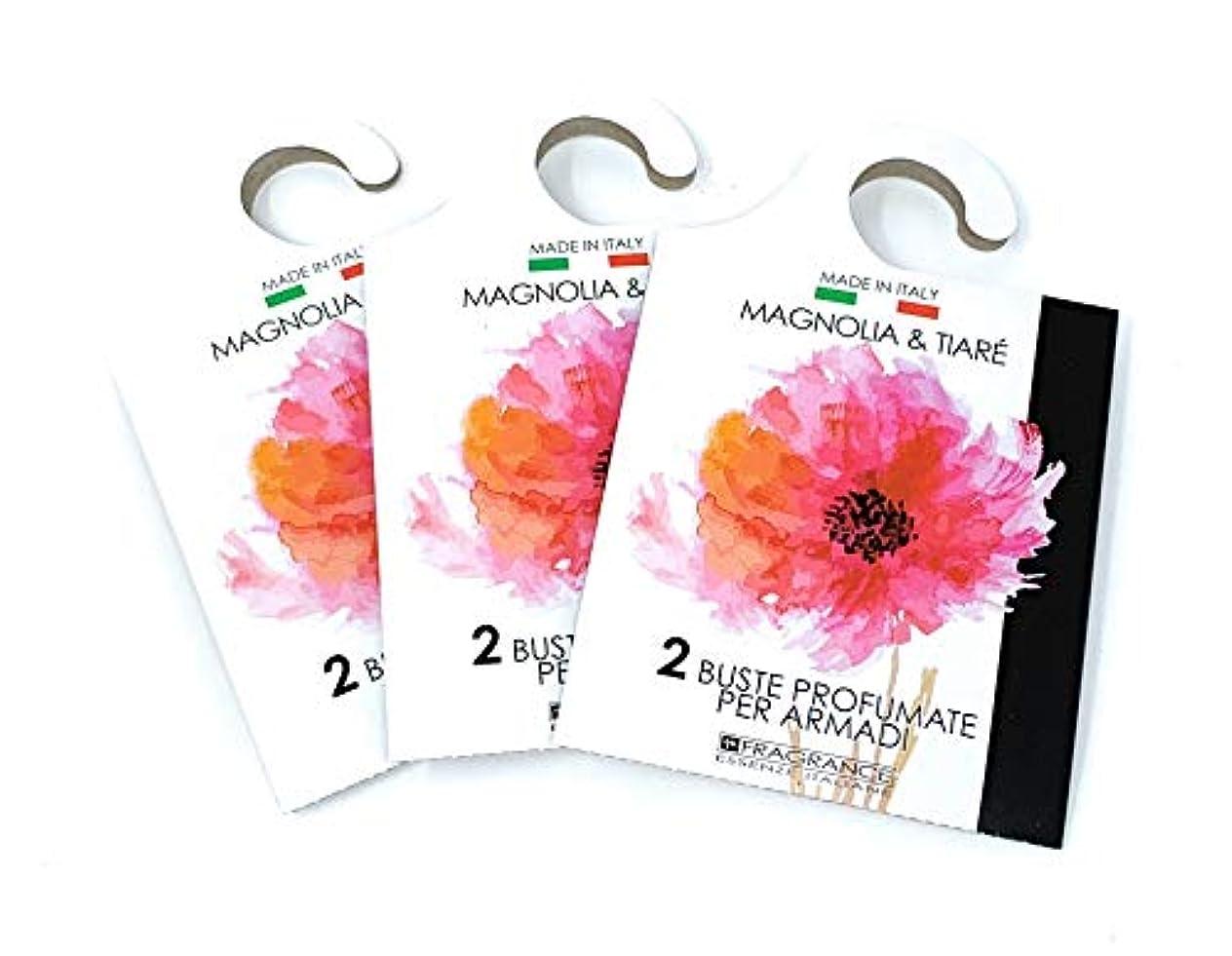 MERCURY ITALY 吊り下げるサシェ(香り袋) ACQUARELLO マグノリア&ティアレの香り/MAGNOLIA & TIARE 2枚入り×3パック [並行輸入品]