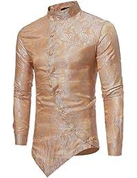Keaac メンズカジュアルロングスリーブ斜めボタンドレスシャツトップス