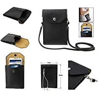 DFV mobile - Universal Litchi Texture Leather Case Pocket Sleeve Bag with Lanyard for Tablet and Smartphone for => FLY IQ245 WIZARD > Black