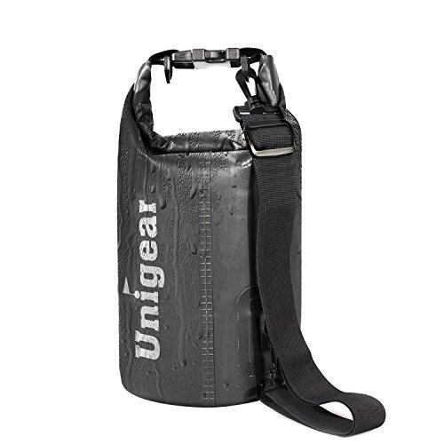 Unigear(ユニジア) ドライバッグ フリー防水ポーチ付 ドラム型 (黒色, 30L)