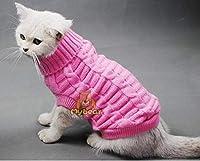 小猫犬ペットのための新たなスパゲティ色暖かい秋冬犬猫のセーターペットのジャンパー猫の服:ピンク、M