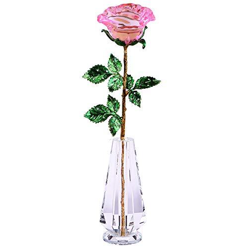 お祝いギフト ガラス ローズ 一輪挿し 付 クリスタル 薔薇...