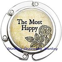 「The Most Happy」財布フック、アートバッグフック、最もハッピーな写真入れフック、アートジュエリー、写真入れフック、ガラスドームパースフック、JP368 30mm